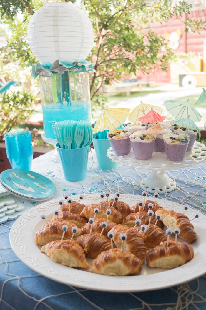 Crustacean croissants from an Ombre Under the Sea + Ocean Birthday Party on Kara's Party Ideas | KarasPartyIdeas.com (30)