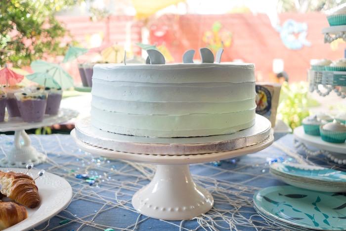 Blue ombre shark fin cake from an Ombre Under the Sea + Ocean Birthday Party on Kara's Party Ideas | KarasPartyIdeas.com (28)