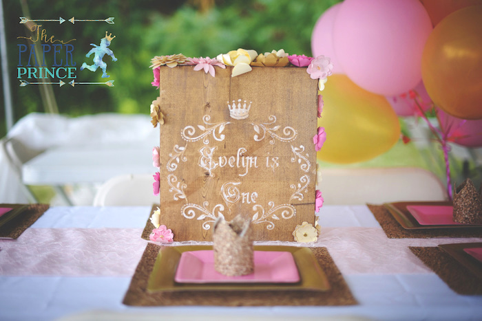 Wooden floral sign from a Once Upon a Time Fairytale Birthday Party on Kara's Party Ideas | KarasPartyIdeas.com (17)