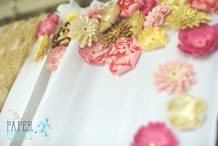 Paper flower detailing from a Once Upon a Time Fairytale Birthday Party on Kara's Party Ideas | KarasPartyIdeas.com (28)