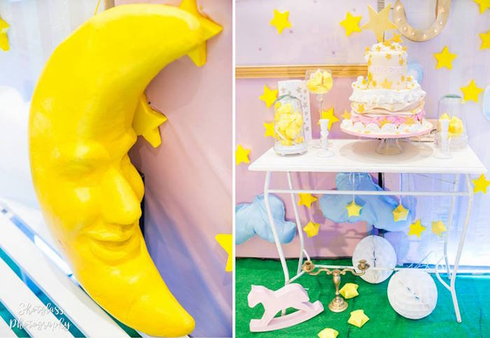 Moon and cake table from an Our Little Star Birthday Party on Kara's Party Ideas | KarasPartyIdeas.com (31)