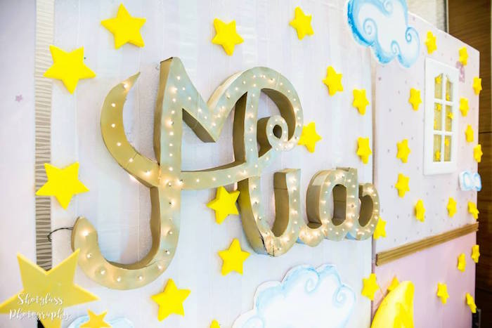 Name banner star backdrop from an Our Little Star Birthday Party on Kara's Party Ideas | KarasPartyIdeas.com (29)