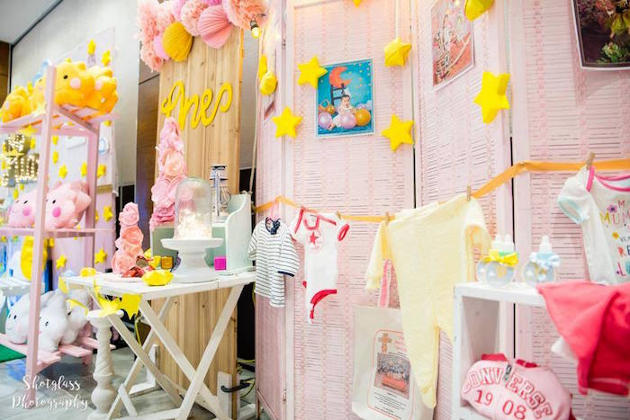 Hanging clothes garland from an Our Little Star Birthday Party on Kara's Party Ideas | KarasPartyIdeas.com (26)