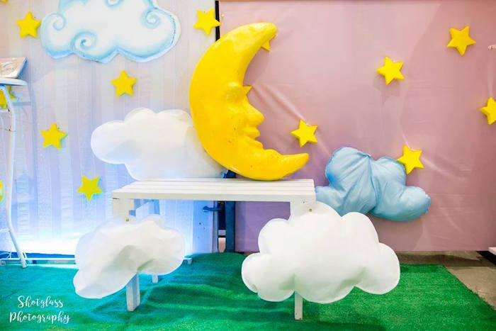 Cloud and Moon bench from an Our Little Star Birthday Party on Kara's Party Ideas | KarasPartyIdeas.com (25)