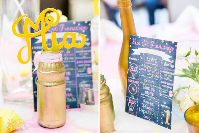 Mini chalkboard fact poster & gold bottle centerpiece from an Our Little Star Birthday Party on Kara's Party Ideas | KarasPartyIdeas.com (19)