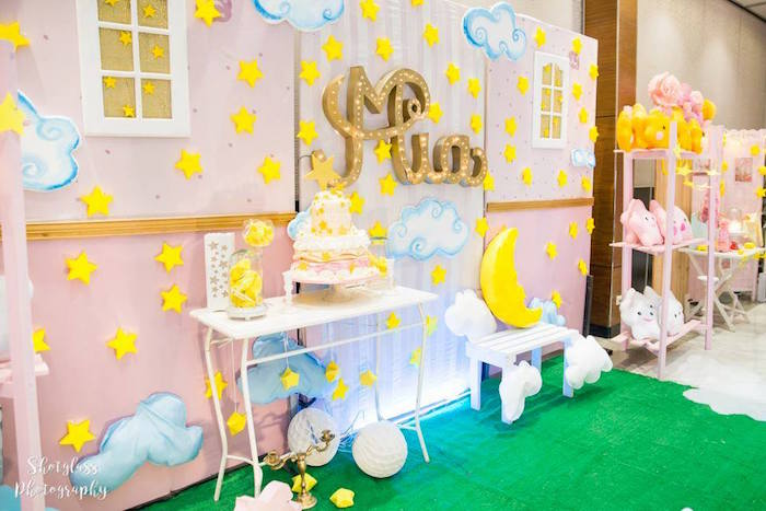 Party wall + backdrop from an Our Little Star Birthday Party on Kara's Party Ideas | KarasPartyIdeas.com (9)