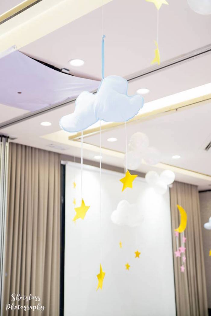 Cloud & star chandelier from an Our Little Star Birthday Party on Kara's Party Ideas | KarasPartyIdeas.com (7)