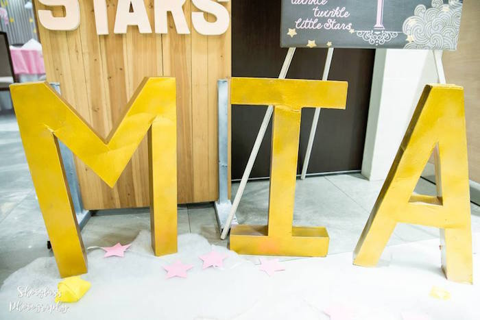Gold block letter name sign from an Our Little Star Birthday Party on Kara's Party Ideas | KarasPartyIdeas.com (40)