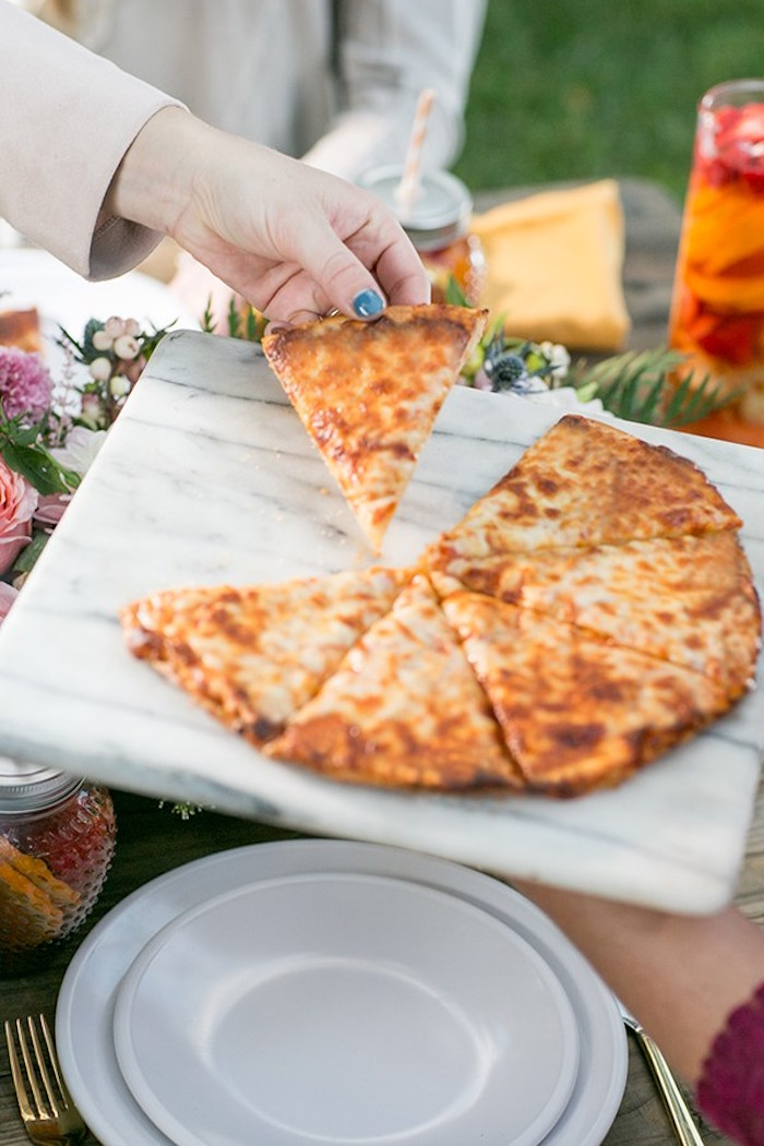 Gluten-free pizza from an Outdoor Garden Gluten Free Birthday Party on Kara's Party Ideas | KarasPartyIdeas.com (5)