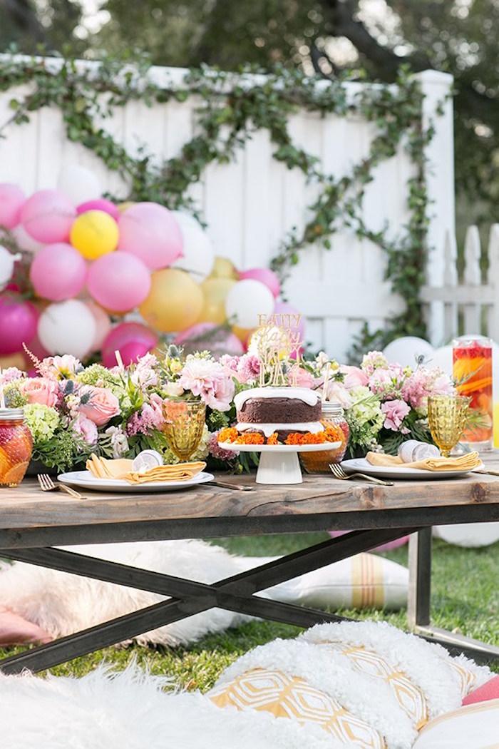 Garden party tablescape from an Outdoor Garden Gluten Free Birthday Party on Kara's Party Ideas | KarasPartyIdeas.com (4)