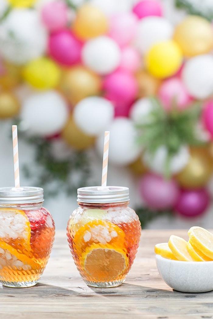 Jar drink cups from an Outdoor Garden Gluten Free Birthday Party on Kara's Party Ideas | KarasPartyIdeas.com (16)