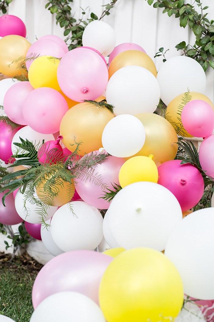Balloon arch backdrop from an Outdoor Garden Gluten Free Birthday Party on Kara's Party Ideas   KarasPartyIdeas.com (15)