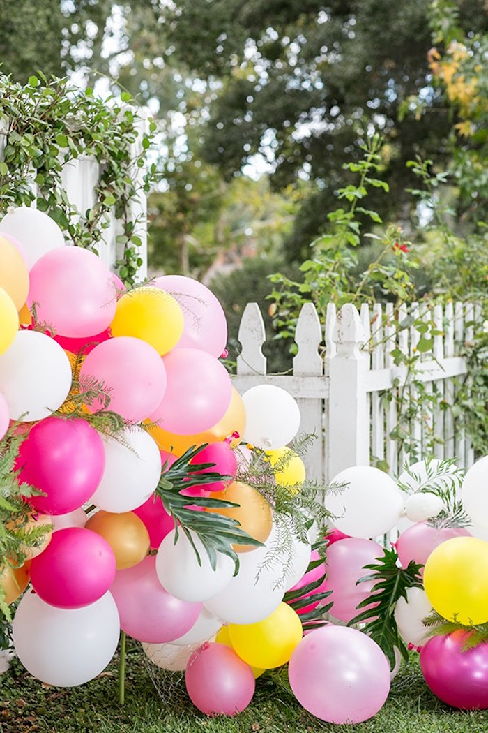 Balloon garland entrance from an Outdoor Garden Gluten Free Birthday Party on Kara's Party Ideas | KarasPartyIdeas.com (14)