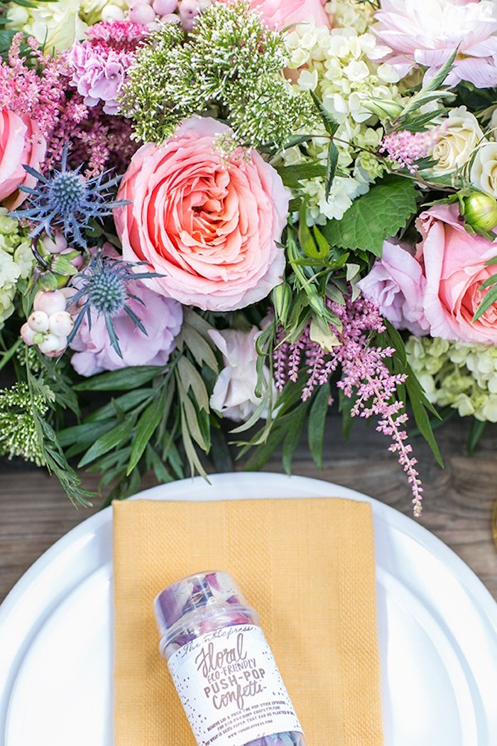 Place setting & blooms from an Outdoor Garden Gluten Free Birthday Party on Kara's Party Ideas | KarasPartyIdeas.com (12)