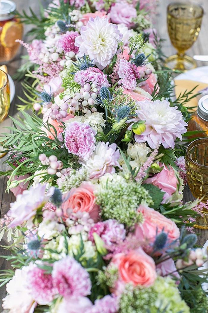 Floral spread from an Outdoor Garden Gluten Free Birthday Party on Kara's Party Ideas | KarasPartyIdeas.com (11)