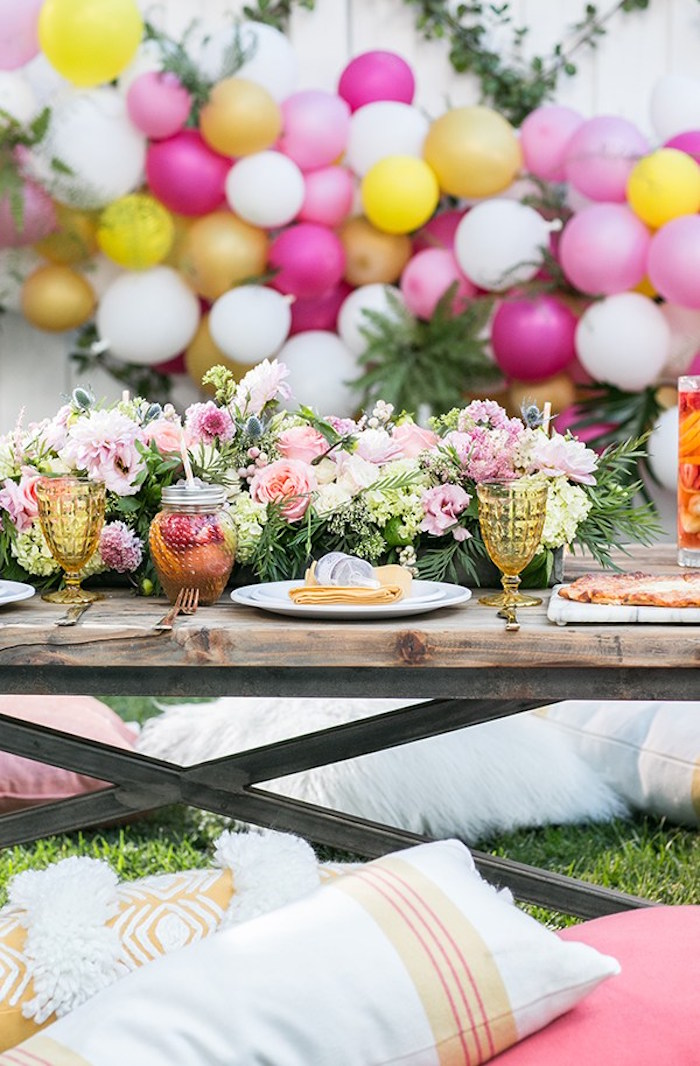 Garden guest table from an Outdoor Garden Gluten Free Birthday Party on Kara's Party Ideas | KarasPartyIdeas.com (10)