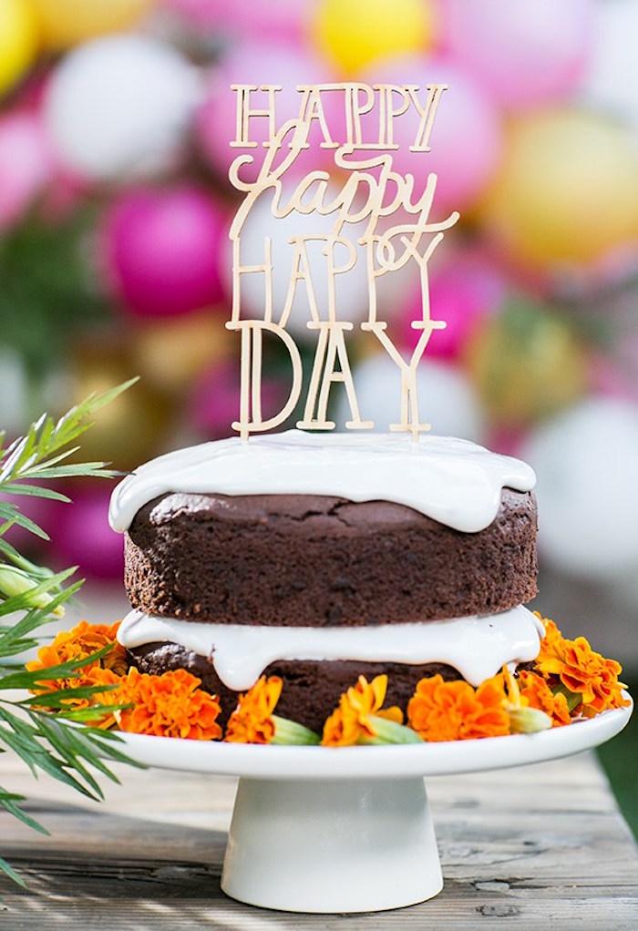 Chocolate cake from an Outdoor Garden Gluten Free Birthday Party on Kara's Party Ideas | KarasPartyIdeas.com (9)