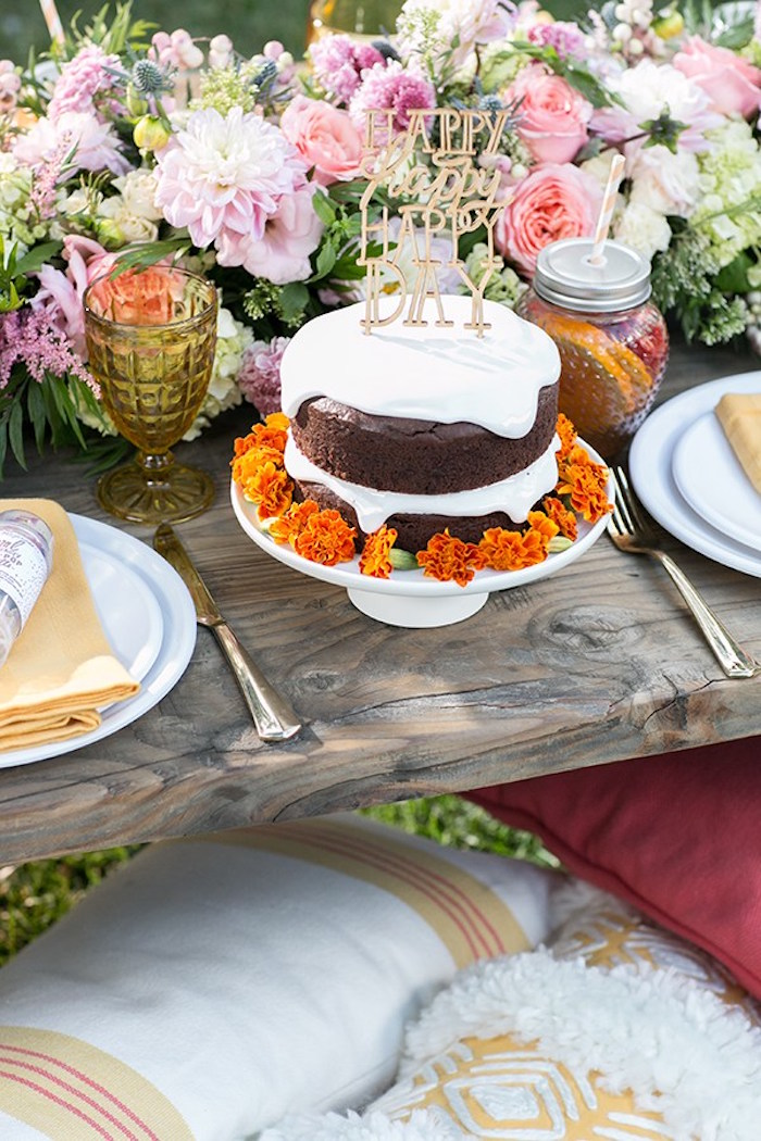 Semi-naked chocolate cake from an Outdoor Garden Gluten Free Birthday Party on Kara's Party Ideas | KarasPartyIdeas.com (8)