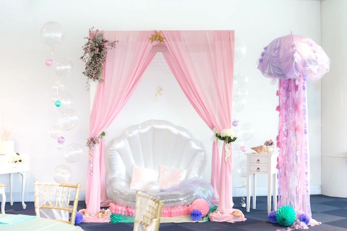 Beautiful under-the-sea photo booth from a Pastel Mermaid Party on Kara's Party Ideas | KarasPartyIdeas.com (41)