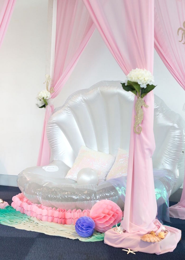 Inflatable sea shell from a Pastel Mermaid Party on Kara's Party Ideas | KarasPartyIdeas.com (40)