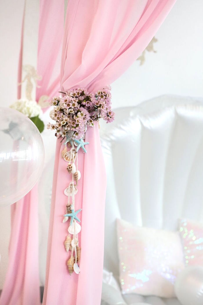 Floral curtain bunting from a Pastel Mermaid Party on Kara's Party Ideas | KarasPartyIdeas.com (35)