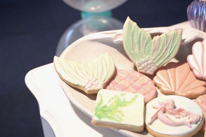 Mermaid themed cookies from a Pastel Mermaid Party on Kara's Party Ideas | KarasPartyIdeas.com (32)