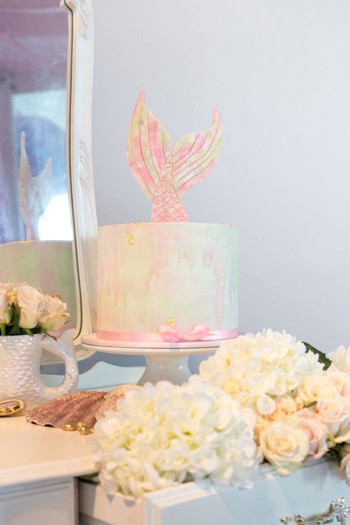 Mermaid cake from a Pastel Mermaid Party on Kara's Party Ideas | KarasPartyIdeas.com (31)