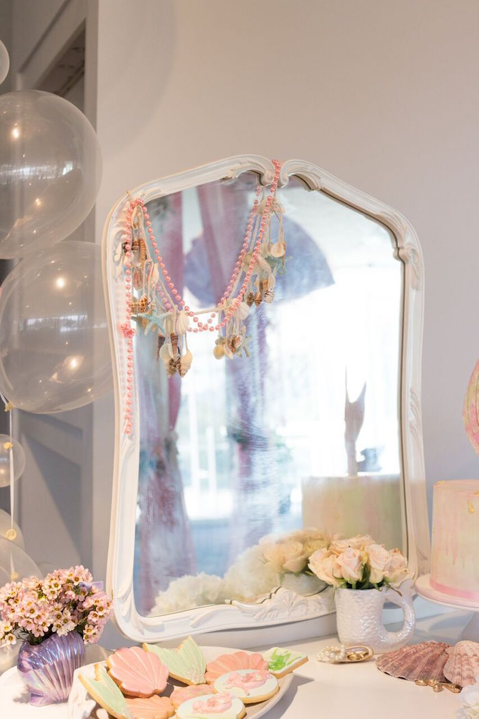 Mirror from a Pastel Mermaid Party on Kara's Party Ideas | KarasPartyIdeas.com (29)