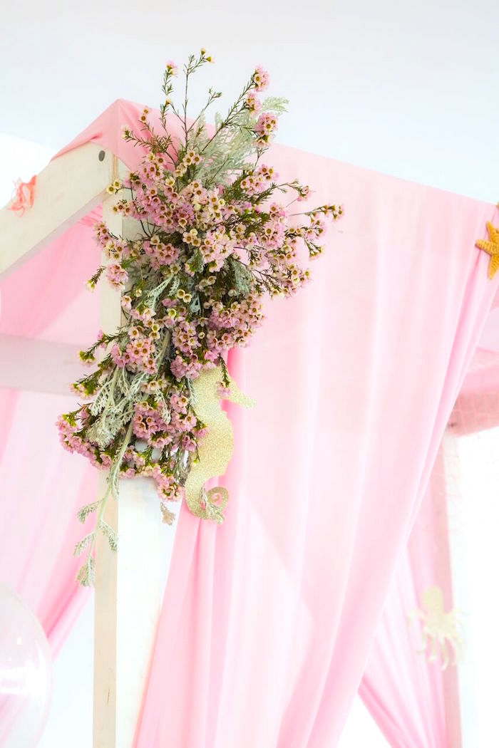 Seahorse florals from a Pastel Mermaid Party on Kara's Party Ideas | KarasPartyIdeas.com (25)
