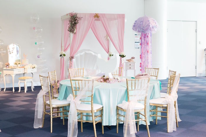 Guest table from a Pastel Mermaid Party on Kara's Party Ideas | KarasPartyIdeas.com (19)