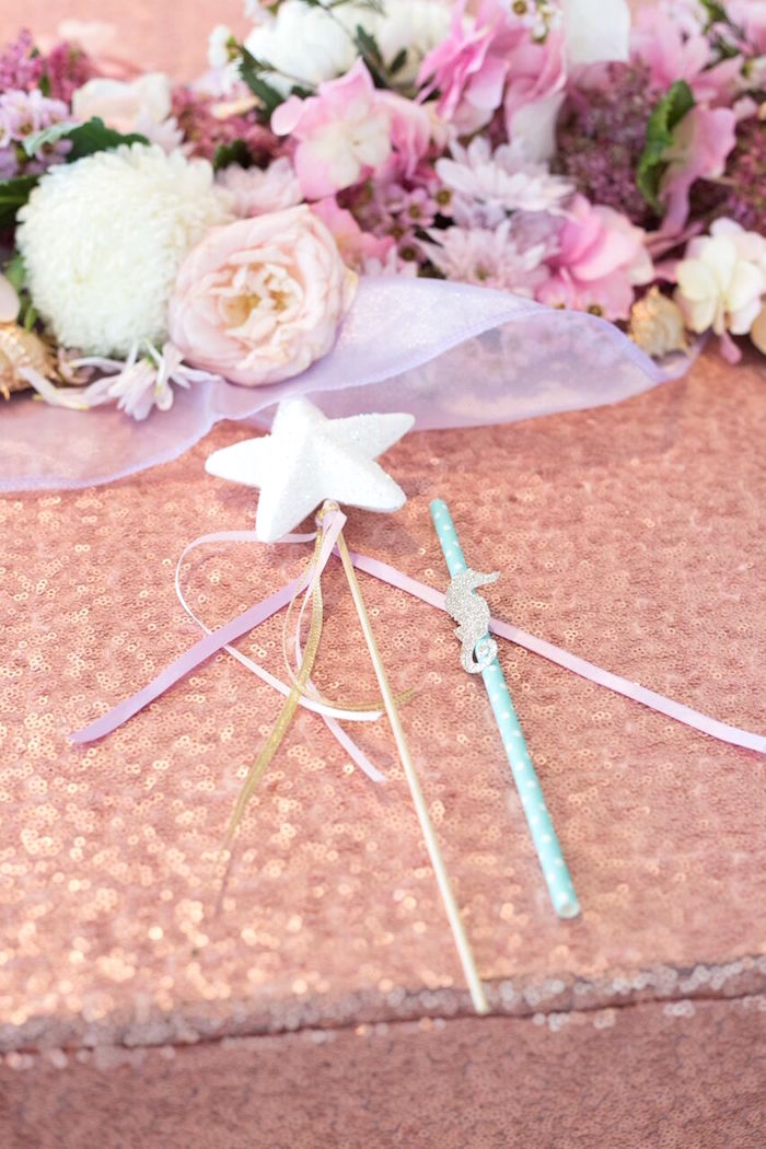 Star wand + sea horse straw from a Pastel Mermaid Party on Kara's Party Ideas | KarasPartyIdeas.com (17)