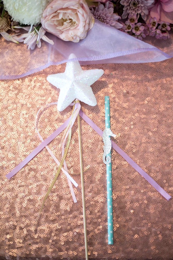 Star wand + sea horse straw from a Pastel Mermaid Party on Kara's Party Ideas | KarasPartyIdeas.com (16)