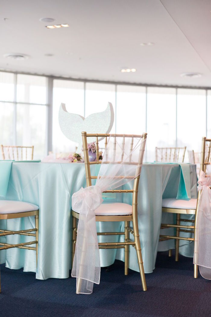 Guest table + chiavari charirs from a Pastel Mermaid Party on Kara's Party Ideas | KarasPartyIdeas.com (50)