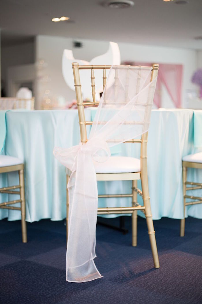 Gold chiavari chair with sheer white chair tie from a Pastel Mermaid Party on Kara's Party Ideas | KarasPartyIdeas.com (7)