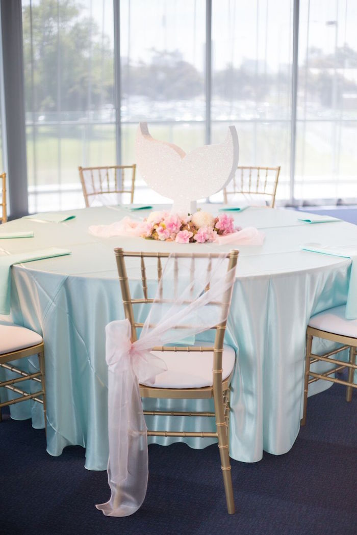 Mermaid guest table from a Pastel Mermaid Party on Kara's Party Ideas | KarasPartyIdeas.com (6)