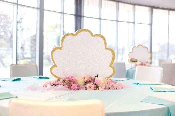 Sea shell guest table from a Pastel Mermaid Party on Kara's Party Ideas | KarasPartyIdeas.com (45)