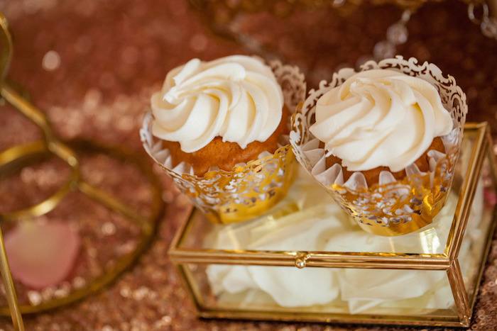 Cupcakes from a Pink & Gold Butterfly Baby Shower on Kara's Party Ideas | KarasPartyIdeas.com (4)