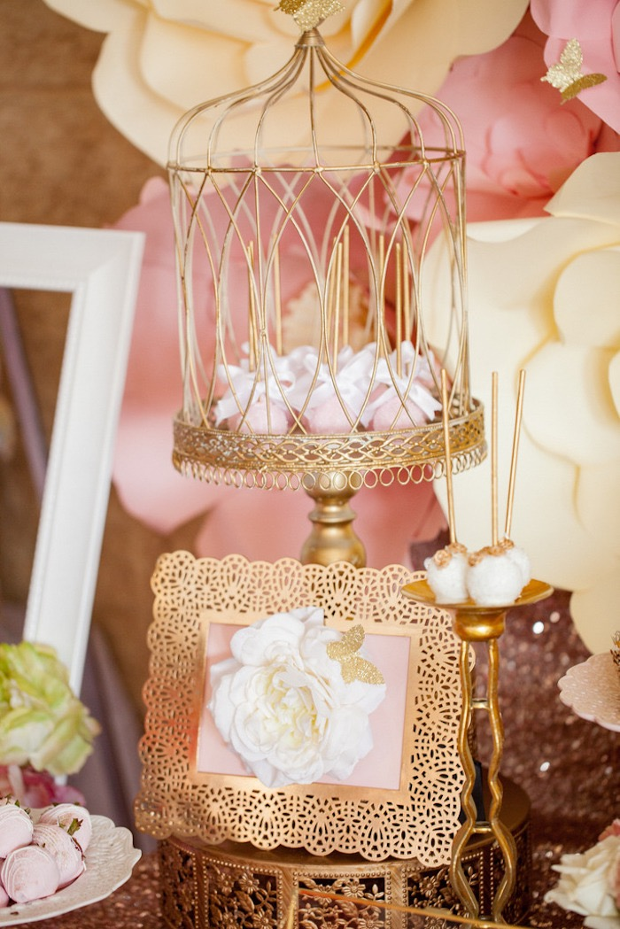 gold frame and sweet pedestal from a pink gold butterfly baby shower