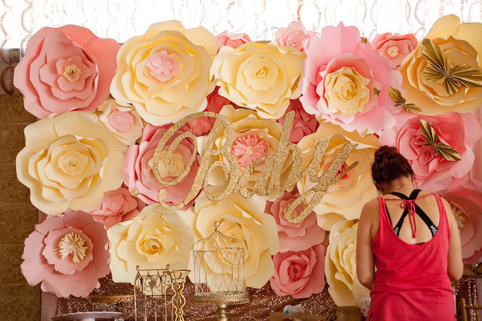 Paper flower backdrop from a Pink & Gold Butterfly Baby Shower on Kara's Party Ideas | KarasPartyIdeas.com (14)