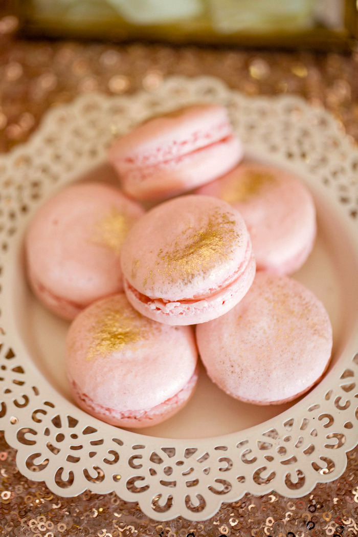 Pink macarons brushed with gold glitter from a Pink & Gold Butterfly Baby Shower on Kara's Party Ideas | KarasPartyIdeas.com (9)