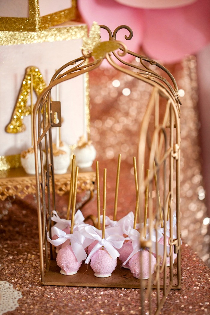 Cake pops from a Pink & Gold Butterfly Baby Shower on Kara's Party Ideas | KarasPartyIdeas.com (8)