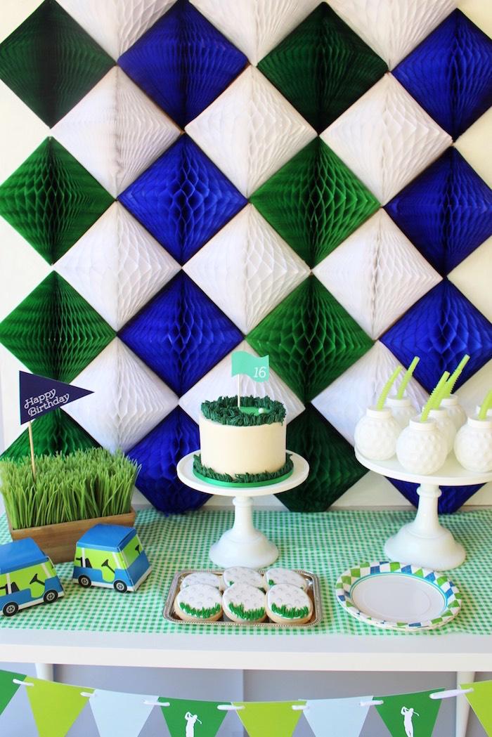 Tissue diamond backdrop from a Preppy Golf Birthday Party on Kara's Party Ideas | KarasPartyIdeas.com (11)