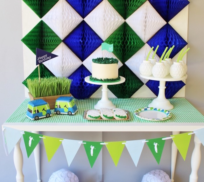Sweet table from a Tissue diamond backdrop from a Preppy Golf Birthday Party on Kara's Party Ideas | KarasPartyIdeas.com (10)