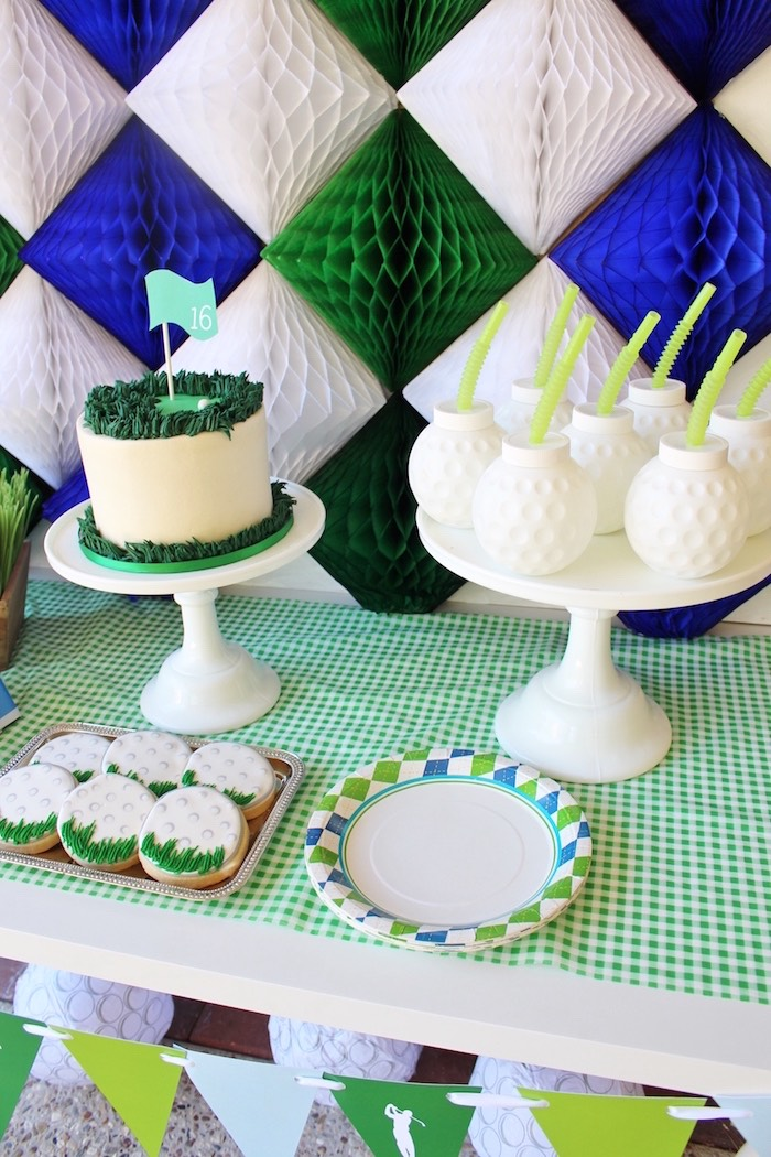 Sweet table detail from a Preppy Golf Birthday Party on Kara's Party Ideas | KarasPartyIdeas.com (7)