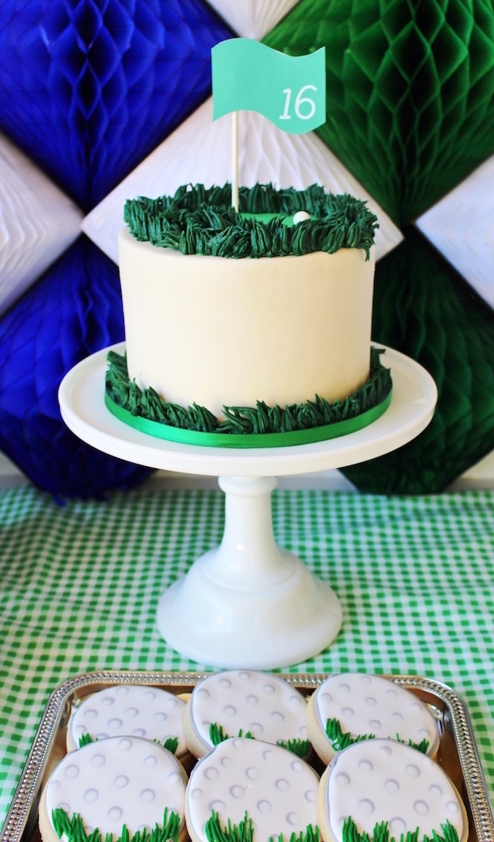 Golf cake from a Preppy Golf Birthday Party on Kara's Party Ideas | KarasPartyIdeas.com (20)