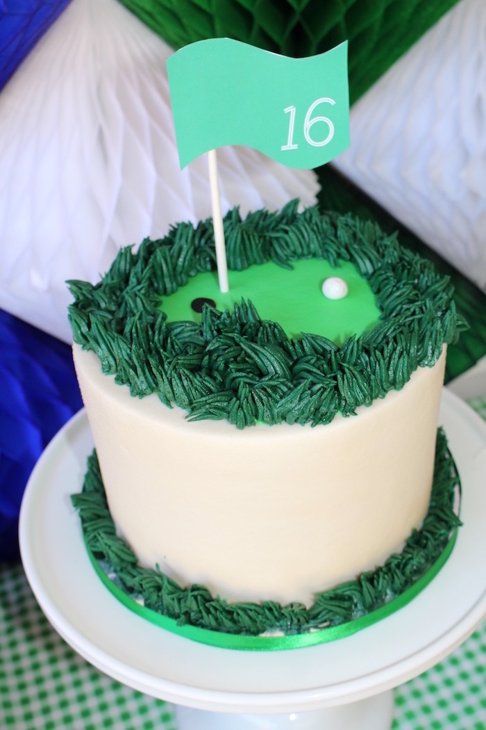 Golf cake from a Preppy Golf Birthday Party on Kara's Party Ideas | KarasPartyIdeas.com (19)