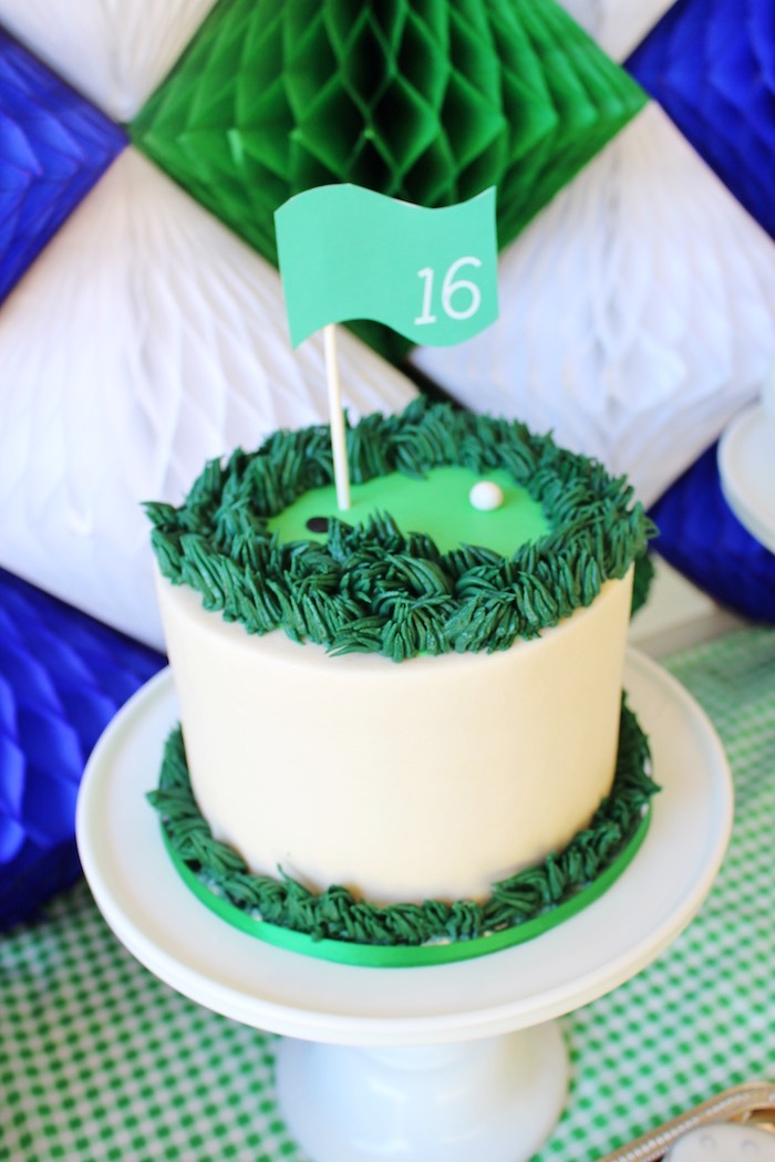 Golf cake from a Preppy Golf Birthday Party on Kara's Party Ideas | KarasPartyIdeas.com (18)