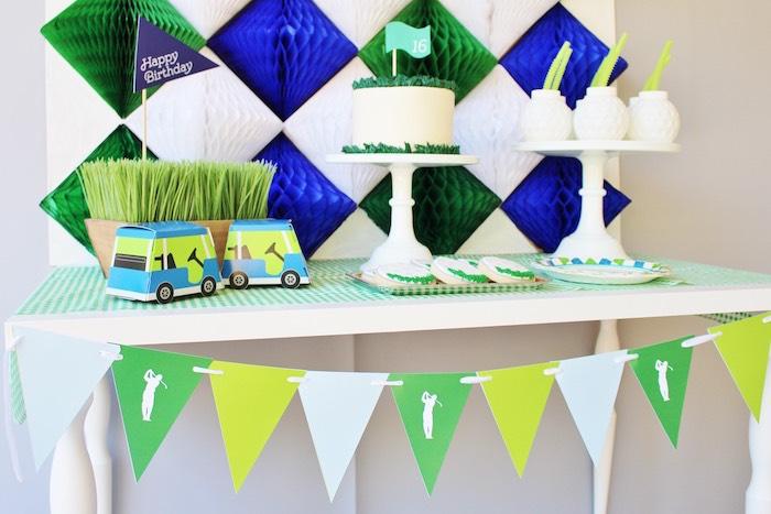 Golf themed dessert spread from a Preppy Golf Birthday Party on Kara's Party Ideas | KarasPartyIdeas.com (15)