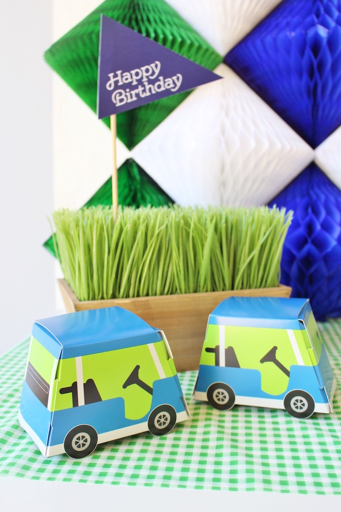 Golf cart favor boxes from a Preppy Golf Birthday Party on Kara's Party Ideas | KarasPartyIdeas.com (13)
