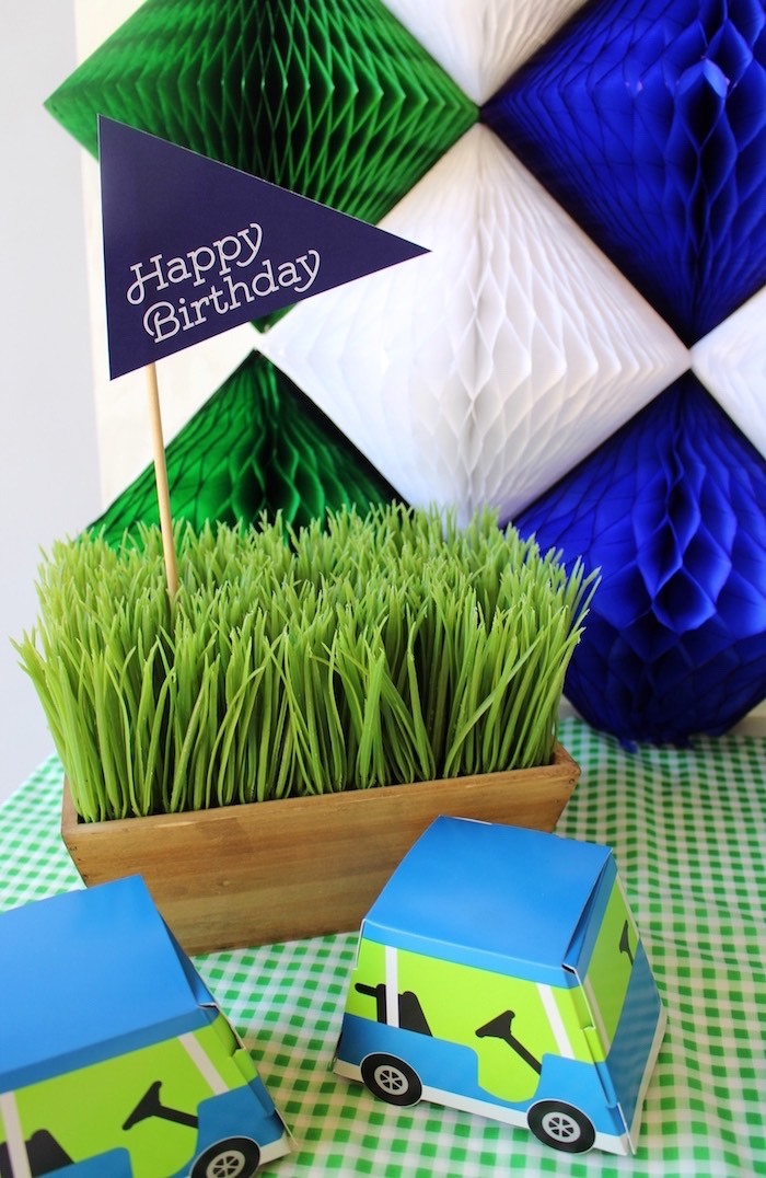 Planted grass and pennant flag from a Preppy Golf Birthday Party on Kara's Party Ideas | KarasPartyIdeas.com (12)